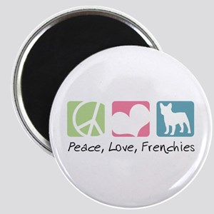 Peace, Love, Frenchies Magnet